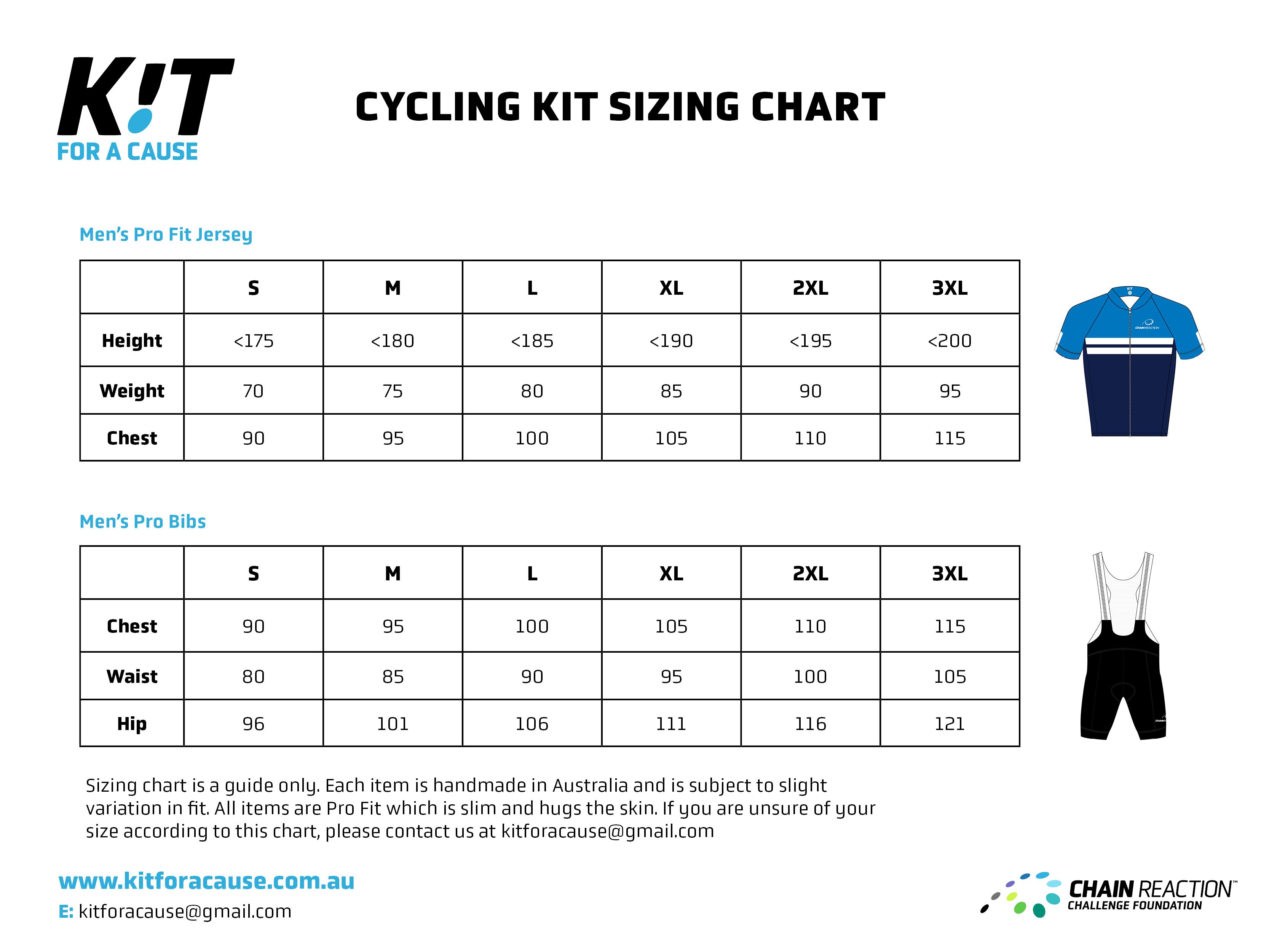 Men's Cycling Kit Size Chart